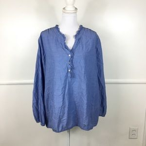 Lane Bryant Blue Chambray Ruffle Top Womens 22/24